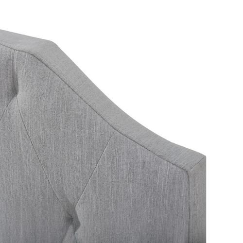 Scalloped Tufted Twin Upholstered Bed in Mist Gray