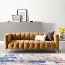 Mesmer Channel Tufted Button Performance Velvet Sofa in Cognac