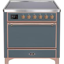 See Details - Majestic II 36 Inch Electric Freestanding Range in Blue Grey with Copper Trim