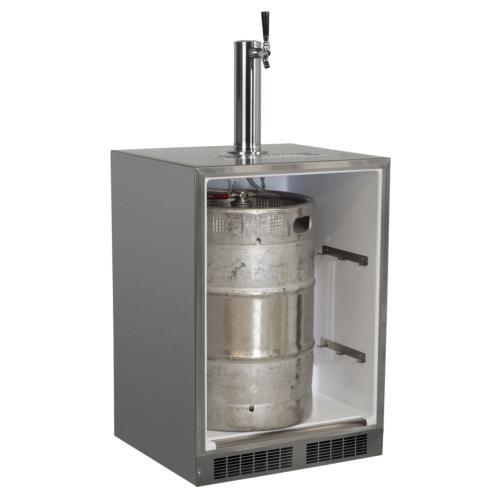"""Marvel - Outdoor 24"""" Single Tap Built In Beer Dispenser with Stainless Steel Door - Solid Stainless Steel Door With Lock - Right Hinge"""