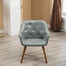 Vauclucy Contemporary Faux Leather Diamond Tufted Bucket Style Dining Chair, Grey