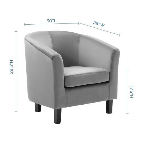 Prospect Performance Velvet Armchair in Light Gray