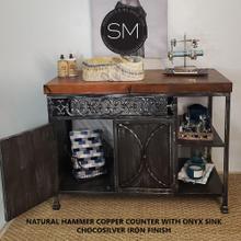 See Details - Bathroom Vanity- Hammered Copper Top Onyx Marble Sink - Model 1236 V - Natural Hammer Copper / Chocosilver