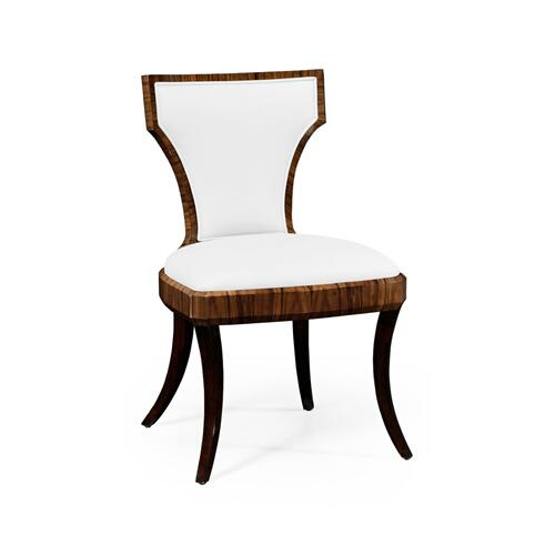Art Deco High Lustre Santos Side Chair, Upholstered in COM