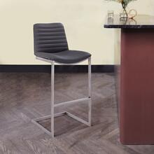 "Lucas Contemporary 26"" Counter Height Barstool in Brushed Stainless Steel Finish and Grey Faux Leather"