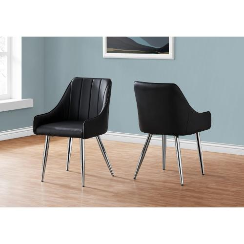 """Gallery - DINING CHAIR - 2PCS / 33""""H / BLACK LEATHER-LOOK / CHROME"""