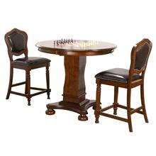 "CR-87148-TCB-3P  Bellagio 3 Piece 42"" Round Counter Height Dining, Chess and Poker Table Set  Reversible 3 in 1 Game Top  Distressed Cherry Brown Wood  Upholstered Stools with Nailheads"