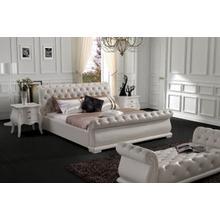 Modrest Modern White Tufted Leatherette Bed