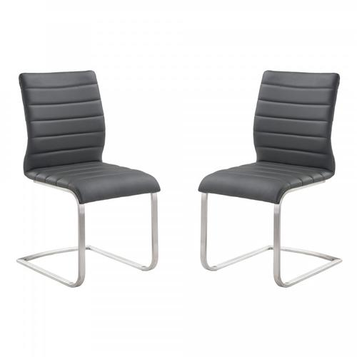 Armen Living Fusion Contemporary Side Chair In Gray and Stainless Steel - Set of 2