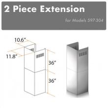 """See Details - ZLINE 2-36"""" Chimney Extensions for 10 ft. to 12 ft. Ceilings (2PCEXT-597-304)"""