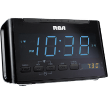 Auto time set, dual wake clock radio with 1.4 inch blue display