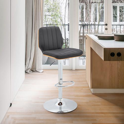 Armen Living - Sabine Adjustable Swivel Gray Faux Leather with Walnut Back and Chrome Bar Stool