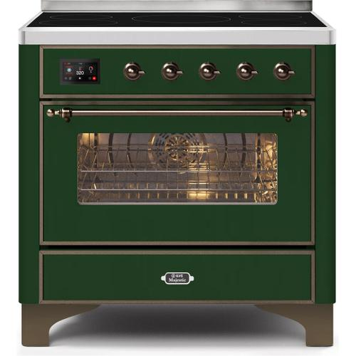 Majestic II 36 Inch Electric Freestanding Range in Emerald Green with Bronze Trim