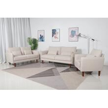 8157 3PC BEIGE Linen Stationary Basic Living Room SET