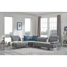 Divani Casa Nash Modern Contemporary Grey Tufted Fabric Sectional Sofa w/ Adjustable Backrest