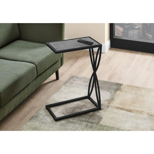 """ACCENT TABLE - 25""""H / GREY STONE-LOOK / BLACK METAL"""
