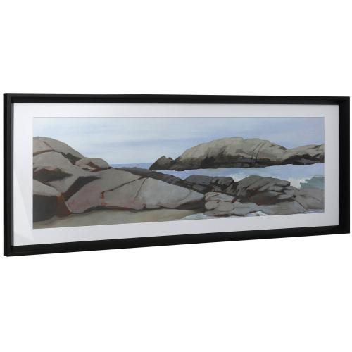Style Craft - COASTLINE II  16in w X 41in ht  Framed Print Under Glass with Matte