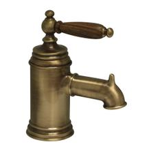 See Details - Fountainhaus Single Hole/Single Lever Lavatory Faucet with Cherry Wood Handle and Pop-up Waste - Old (Antique) Bronze