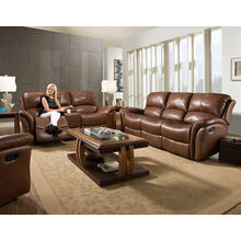 See Details - Hanover Yellowstone 100% Genuine Leather 2-Piece Set: Double-Reclining Sofa and Gliding Console Loveseat, Golden Brown, HUM002SET2-GB