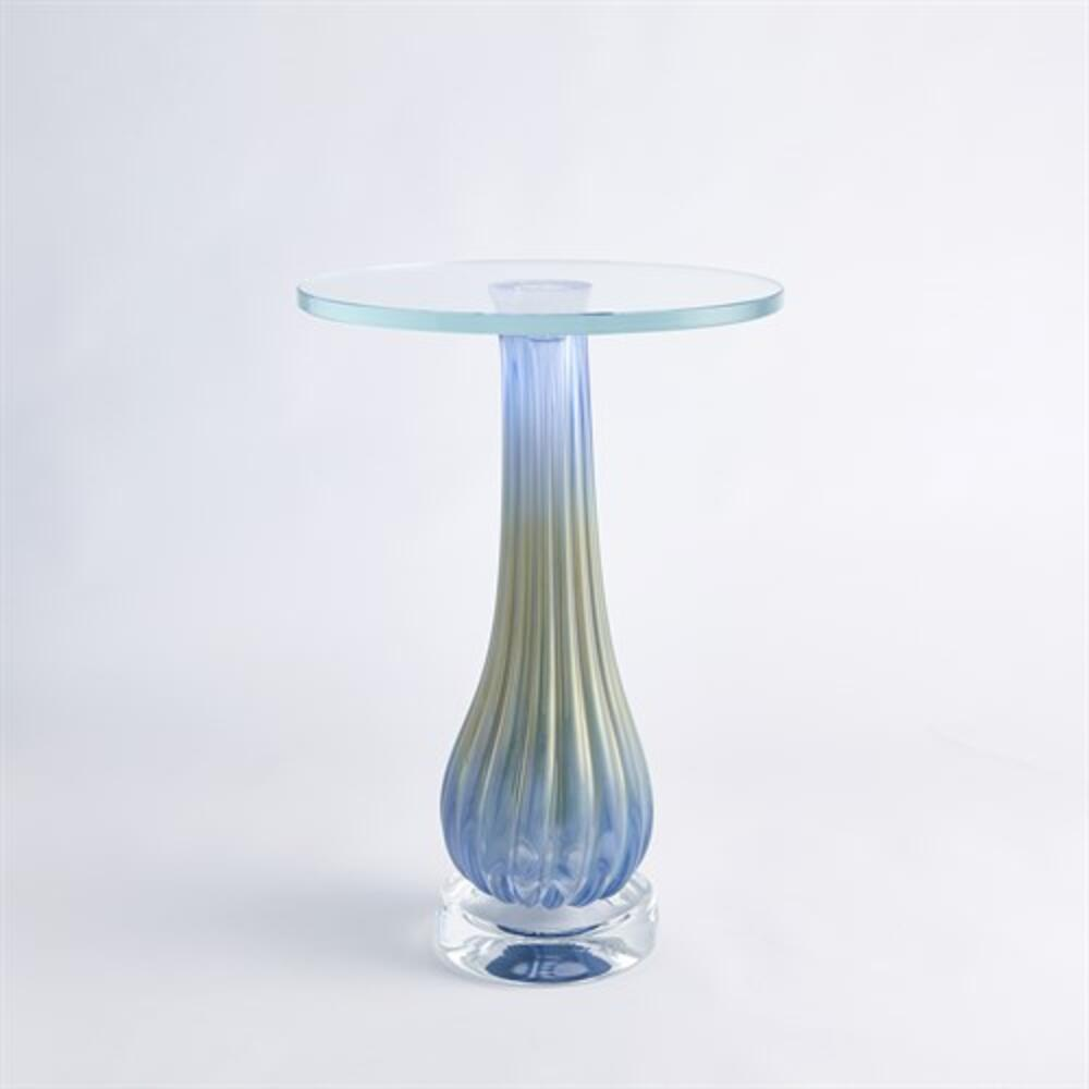 Blue Ribbed Accent Table