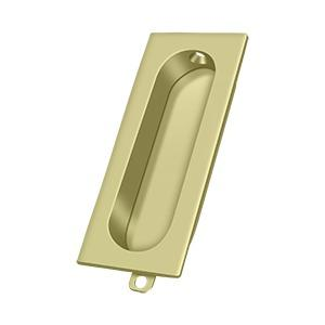 "Flush Pull, Rectangle, 3-1/8"" x 1-3/8"" x 1/2"" - Unlacquered Brass"