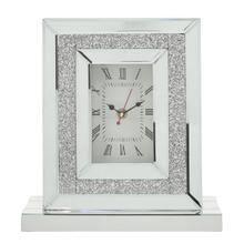 """See Details - Mirrored 12"""" Glittered Table Clock With Base"""