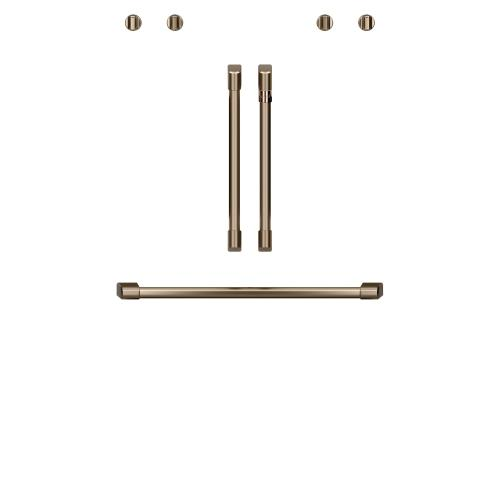 "Café 2 French-Door Handles; 1 - 30"" Handle; 4 Knobs - Brushed Bronze"