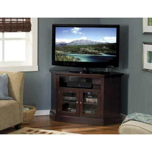 """Product Image - Chocolate Audio Video Stand Corner unit - fits AV components and TVs up to 52"""""""