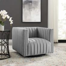 Conjure Tufted Swivel Upholstered Armchair in Light Gray