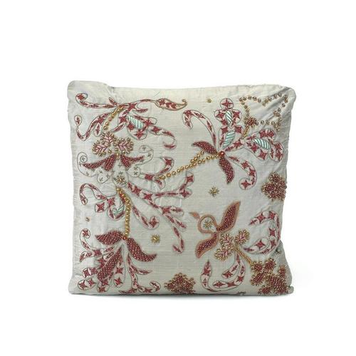 Grey Silk Heavily Embroidered Pillow