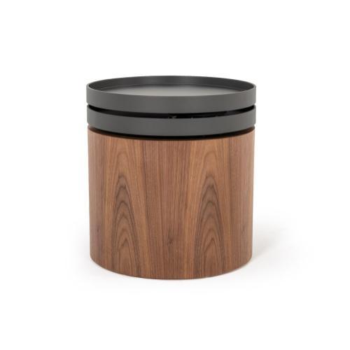 Modrest Bascom Modern Walnut End Table W/ Swivel Top
