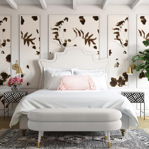 Tov Furniture - Betty Cream Velvet Bench