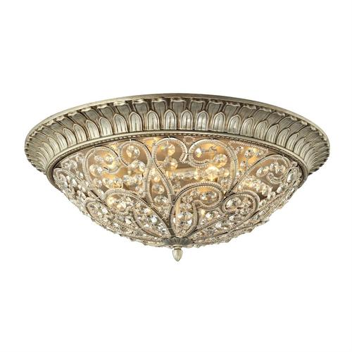 Andalusia 8-Light Flush Mount in Aged Silver with Clear Crystal and Beaded Glass Diffuser