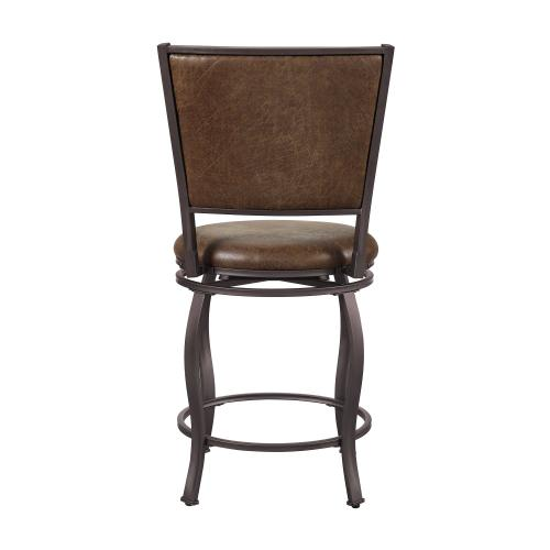 Upholstered Faux Leather Seat and Back Counter Stool, Brown