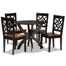 See Details - Baxton Studio Anila Modern and Contemporary Two-Tone Dark Brown and Walnut Brown Finished Wood 5-Piece Dining Set