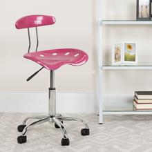 View Product - Vibrant Pink and Chrome Swivel Task Office Chair with Tractor Seat