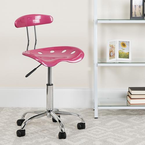 Flash Furniture - Vibrant Pink and Chrome Swivel Task Office Chair with Tractor Seat