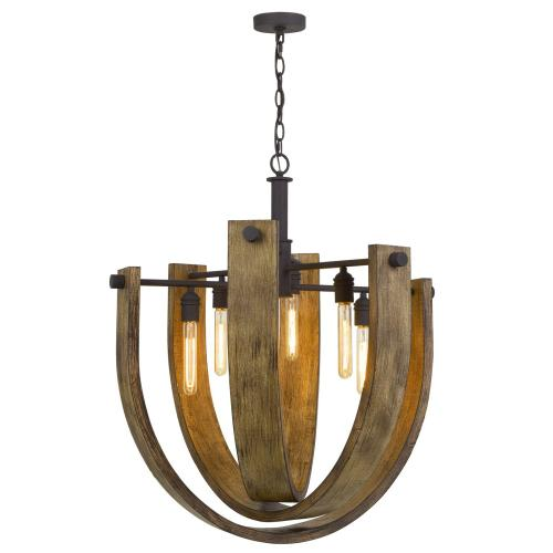 60W X 6 Padova Metal/Wood Chandelier (Edison Bulbs Are Not included)