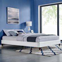 Harlow Twin Performance Velvet Platform Bed Frame in White