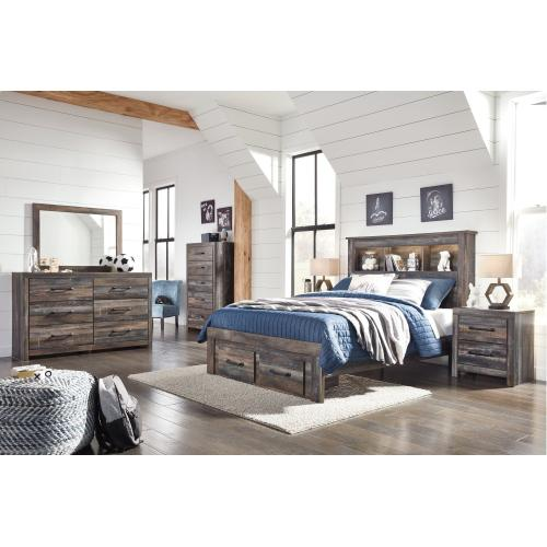 King Bookcase Bed With 2 Storage Drawers With Dresser