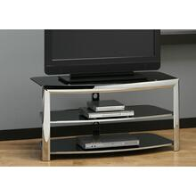 See Details - TV STAND - CHROME METAL / BLACK TEMPERED GLASS