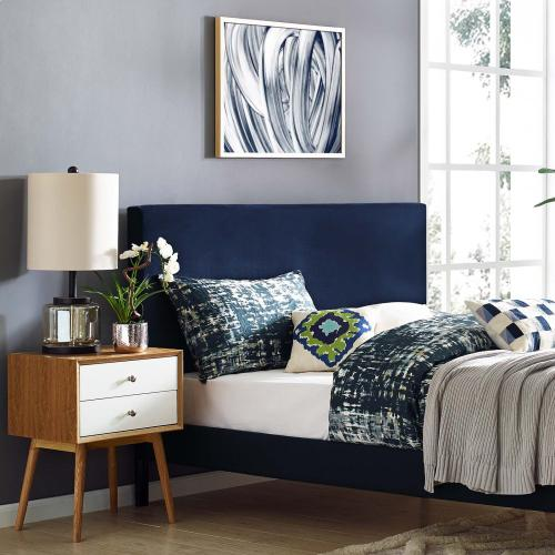 Taylor Full / Queen Upholstered Performance Velvet Headboard in Midnight Blue