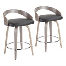Grotto Counter Stool - Set Of 2 - Light Grey Wood, Black Pu, Chrome