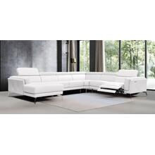 Divani Casa Gilsum - White Modern Leather Single Power Recliner Sectional Sofa