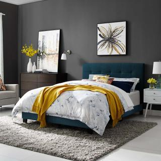 Product Image - Amira Queen Upholstered Fabric Bed in Azure