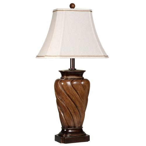 Classic Table Lamp With Toffee Wood Finish and Rectangle Cut Corner Bell Shade