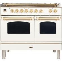 View Product - Nostalgie 40 Inch Dual Fuel Liquid Propane Freestanding Range in Antique White with Brass Trim