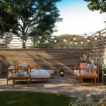 Northlake 7 Piece Outdoor Patio Premium Grade A Teak Wood Set in Natural White