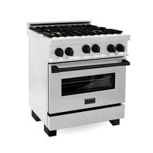 """See Details - ZLINE 30"""" 4.0 cu. ft. Range with Gas Stove and Gas Oven in DuraSnow® Stainless Steel with Matte Black Accents (RGSZ-SN-30) [Color: Matte Black]"""