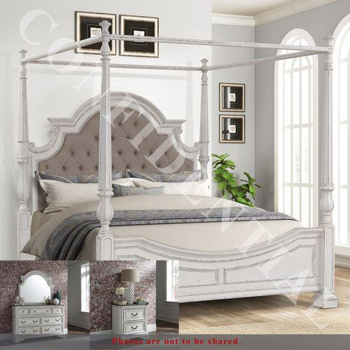 Gallery - King Canopy Bed, Dresser & Mirror, Night Stand